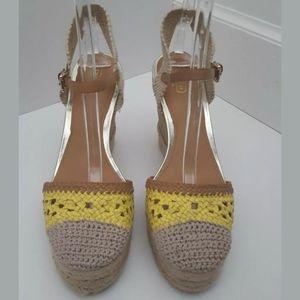 Coach Feline crochet wedge espadrille sandals 11 B